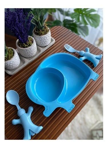 Bayev Erkek Çocukları İçin 3 Prç. Mama Seti - Fil Mavi Renkli